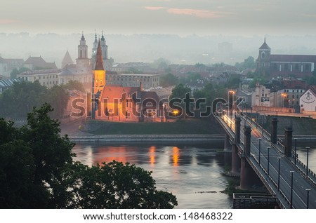 Lithuania. Kaunas Old Town in the fog. View from Aleksotas Hill.