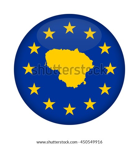Lithuania map on a European Union flag button isolated on a white background. - stock photo