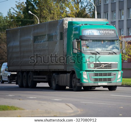 LITHUANIA - OCT 12: Volvo FH truck on the road on Oct. 12, 2015 in Lithuania. The Volvo FH is a heavy truck range produced by Swedish Volvo Truck Corporation.