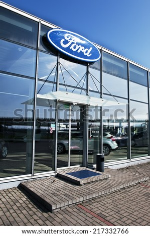 LITHUANIA-SEPTEMBER 14:FORD salon on September 14,2014 in Lithuania.The Ford Motor Company is an American multinational automaker. It was founded by Henry Ford. - stock photo