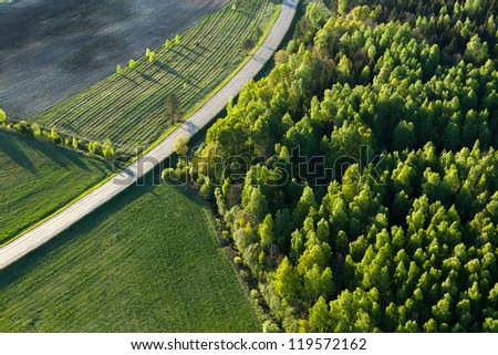 Lithuanian landscape from above - stock photo