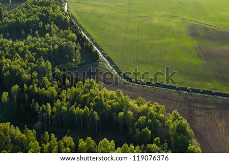 Lithuanian landscape from above at spring - stock photo