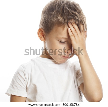 litlle cute blond  boy tired sad isolated close up - stock photo