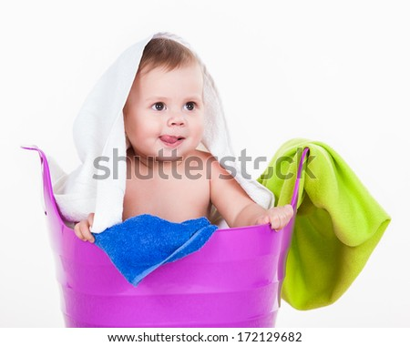 Littel Boy with Laundry Basket on white. Adorable kid, love and happiness concept. - stock photo