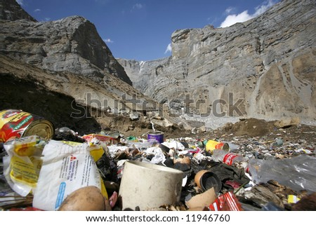 litter in Himalayas, annapurna circuit, nepal - stock photo