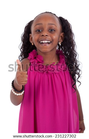 Little african american girl making thumbs up gesture - Black people - stock photo