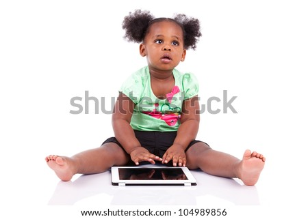 Little african american girl using a tablet  pc, isolated on white background