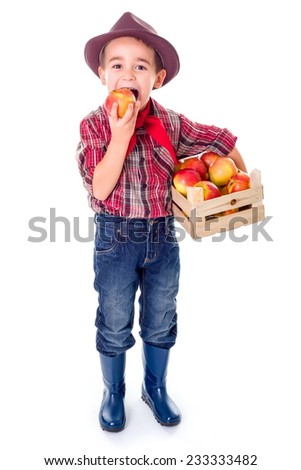 Little agriculturist boy standing with crate full of apples, tasting - stock photo