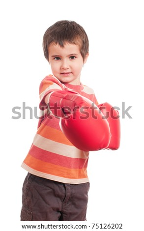Little angry boy boxer attack isolated on white
