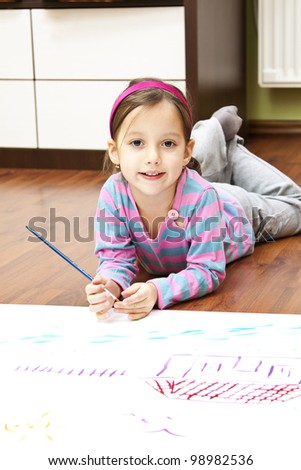 little artist ready to draw - stock photo