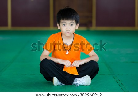 little asian boy practice martial arts - stock photo