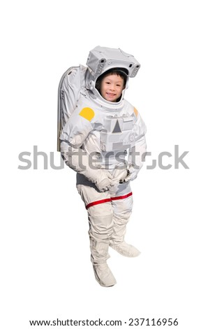 Little Asian boy pretend to be astronaut on white background - stock photo