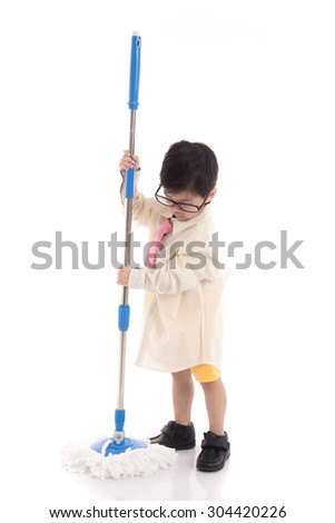 Little asian child pretending to be unemployed man on white background isolated - stock photo