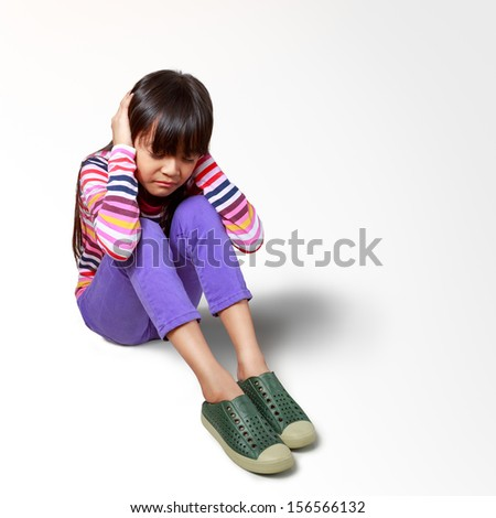 Little asian girl bored sounds annoying complaint, Isolated over white with clipping path - stock photo