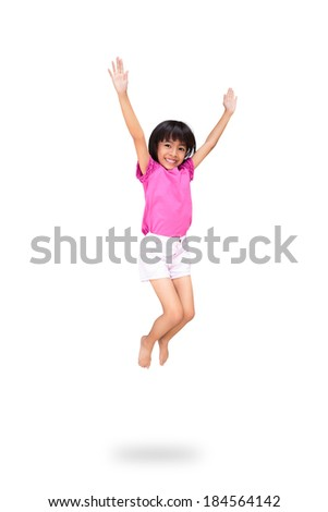 Little asian girl jumps, Isolated over white