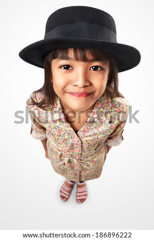 Little asian girl looking up to camera top angle view, Isolated over white