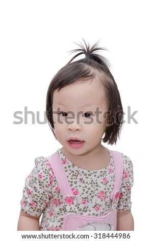 Little Asian girl smiles and look at camera