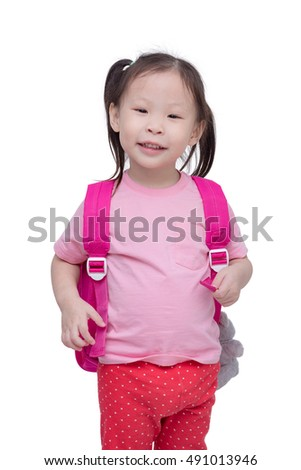 Little asian girl with backpack isolated over white