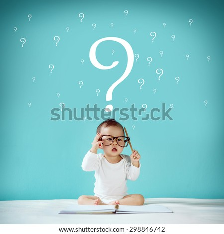 "Little baby and blackboard with ""Question Mark"" on background, School concept - stock photo"