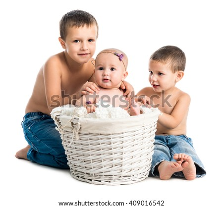 little baby and two brothers together isolated on white background - stock photo