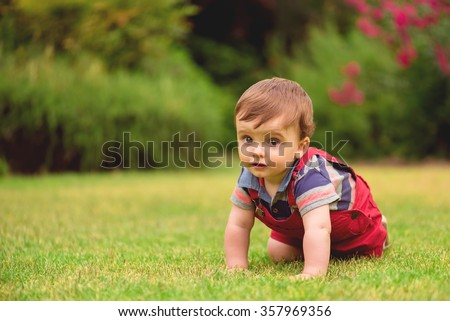 Little Baby crawling in the grass - stock photo