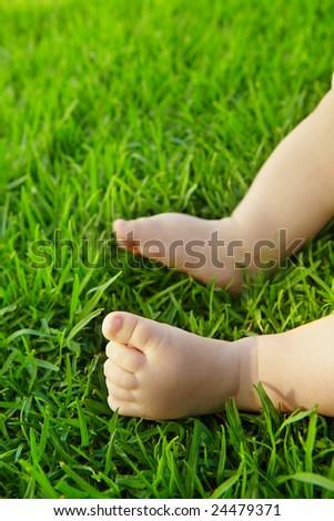 Little baby feet on fresh green grass outdoors - stock photo
