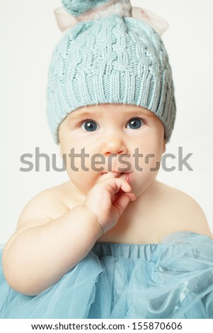 Little baby girl, cute face, birthday card