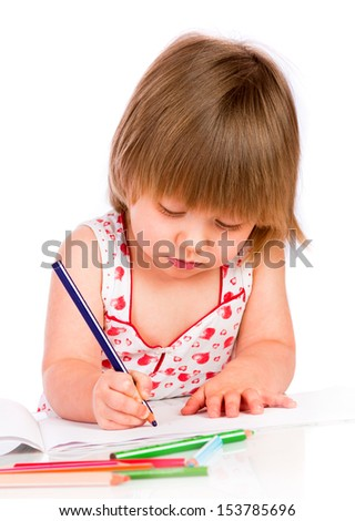 Little baby girl draws pencil isolated on white background.