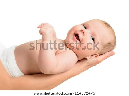 Little baby girl held carefully by mothers hands, isolated on white background - stock photo