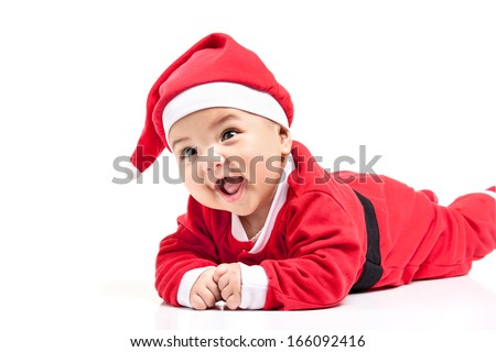 Little  baby girl  in red Christmas clothes. - stock photo