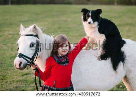 Little baby girl in red dress. Dog on horseback. A small white pony Outdoors - stock photo