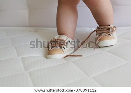 little baby girl's foot - stock photo