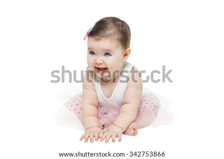 Little baby girl sitting in studio on white background