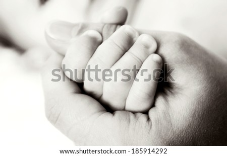 Little baby hand in mother's hand