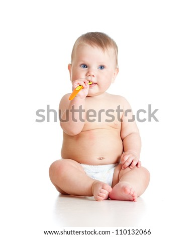 little baby holding spoon over white background - stock photo
