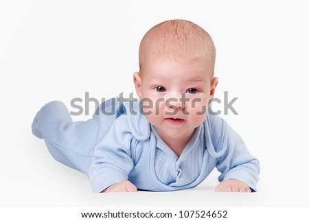 little baby in blue isolated on a white background