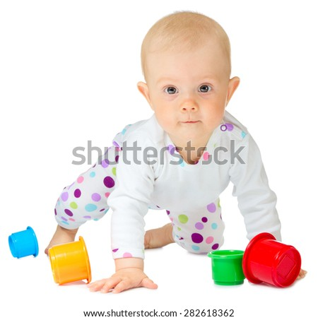 Little baby in white costume isolated - stock photo