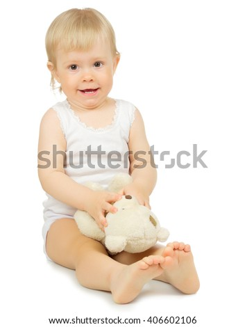 Little baby isolated on white - stock photo