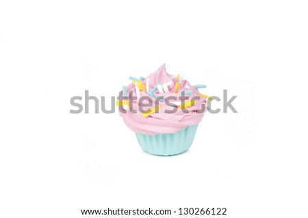 Little baby pink cupcake with sprinklers isolated on a white background