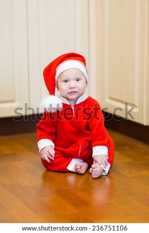 Little baby Santa. Merry Christmas and New Year concept - stock photo