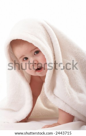 Little baby under white towel
