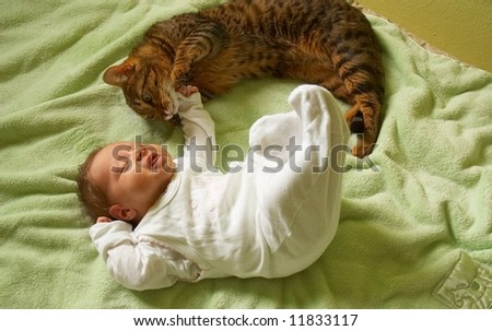 little baby with cat