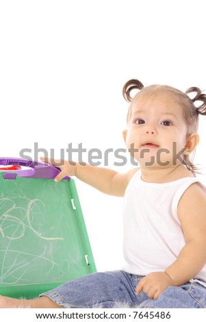 little baby with chalkboard