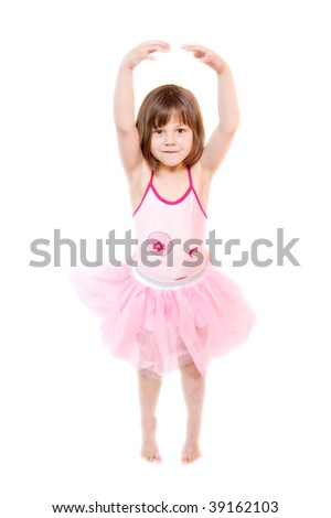 little ballerina wearing tutu isolated on white
