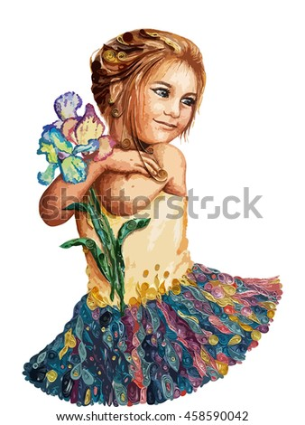 Little ballerina with flowers
