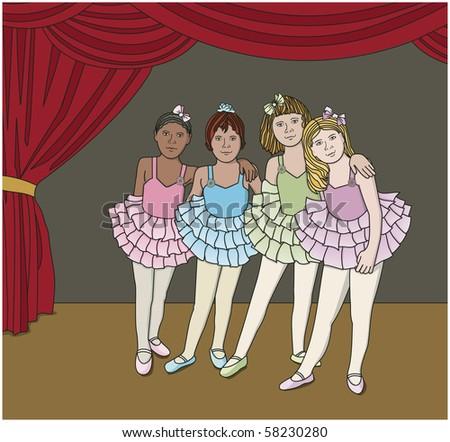 Little Ballerinas  - Raster version - stock photo