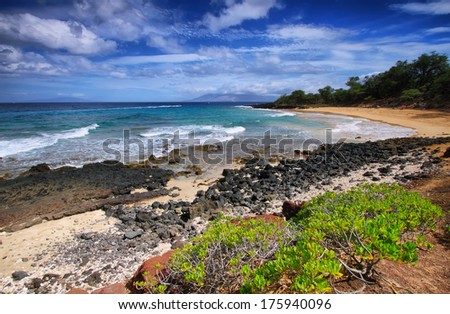 Little beach of Makena beach State park, Maui, Hawaii - stock photo