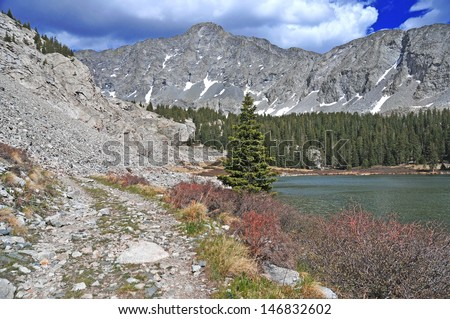 Little Bear Peak and Lake Como, Rocky Mountains, Colorado - stock photo