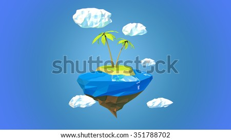 Little beautiful planet-island floating in the sky - stock photo