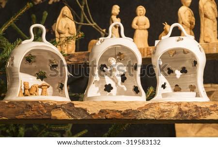 Little Bethlehem of ceramics, three-piece. handmade - stock photo